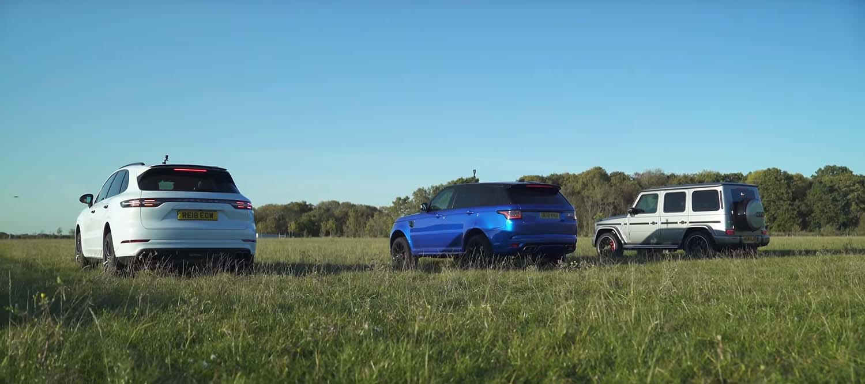 Porsche Cayenne Turbo, Range Rover Sport SRV или Mercedes-AMG G 63? / ВИДЕО