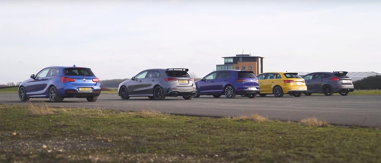 AMG A35, BMW M140i, Golf R, Audi S3, Focus RS – кој е најдобар? / ВИДЕО