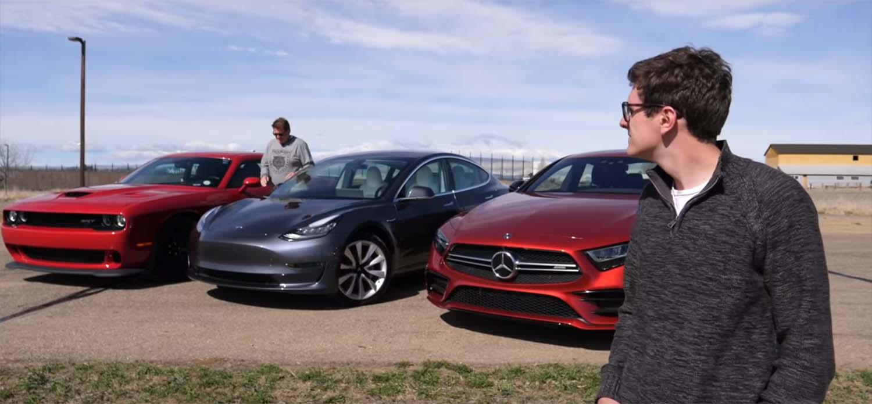 Може да Tesla Model 3 да ги победи Dodge Hellcat и AMG CLS 53? / ВИДЕО