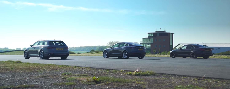 Што е побрзо – Audi RS4, BMW M3 или Tesla Model 3? / ВИДЕО