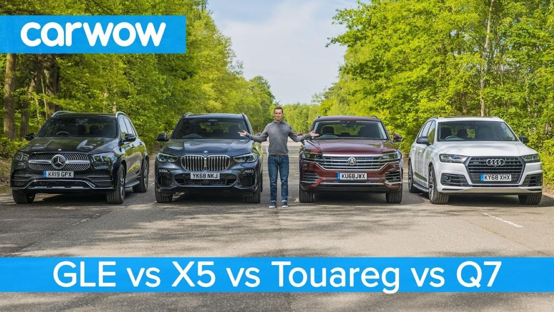 Кој е најдобар? Новиот Mercedes GLE, Audi Q7, BMW X5 и VW Touareg рамо до рамо / ВИДЕО