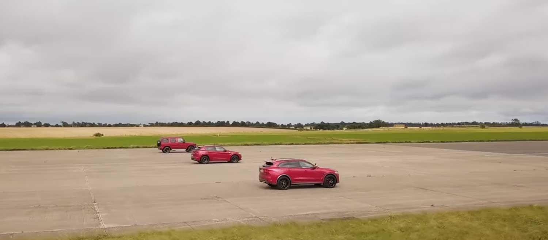 Кој е побрз? Mercedes-AMG G 63, Jaguar F-Pace SVR и Alfa Romeo Stelvio QV на писта / ВИДЕО