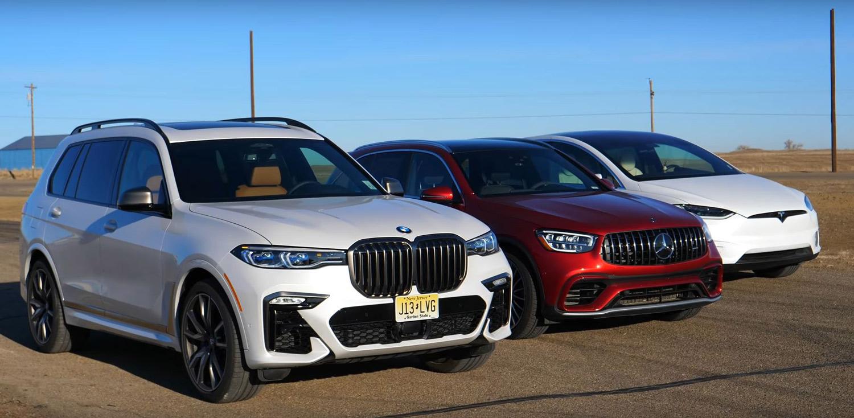 BMW X7 vs Tesla Model X vs Mercedes-AMG GLC 63 S / ВИДЕО