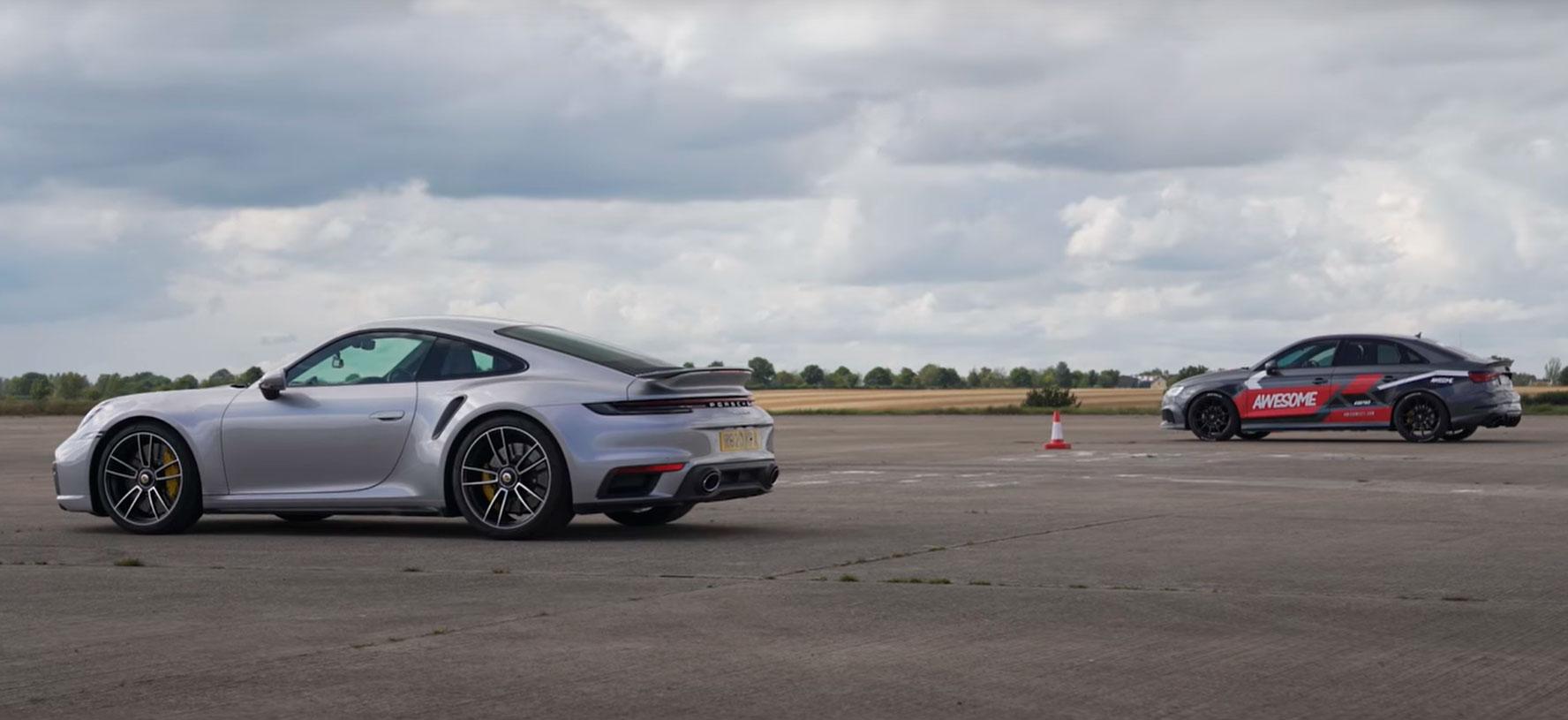 Кој е побрз? Porsche 911 Turbo S или Audi RS3? / ВИДЕО