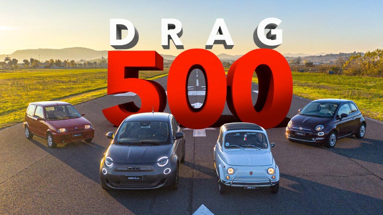 Drag race: Сите генерации на Fiat 500 / ВИДЕО