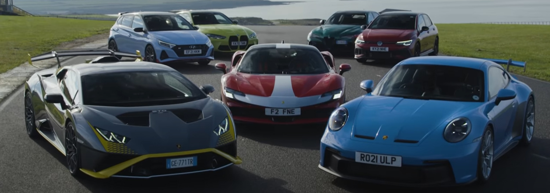 "Мега тест ""супер спортисти"" – Porsche, Lamborghini, Ferrari, BMW… / ВИДЕО"